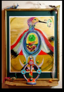 """Phoenix Altar March, 1997 Acrylics on Paper 16""""x 24"""" Assemblage 2004"""